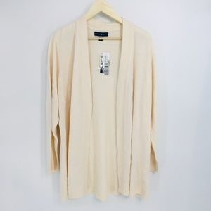 Karen Scott Cream Open Front Long Sleeve Cardigan